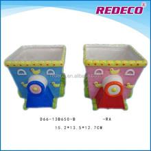 Bright color box shaped ceramic flower pot wholesale
