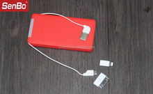 Factory direct sale built in 2 cables 2 adapters 5000 mAh mobile power bank