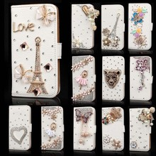 Wholesale 3D Fashion Flip Cover Crystal Bling Leather Printed Phone Case For Iphone 6
