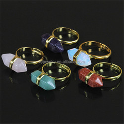 KJL-leaf 006 Charm opal/quartz/amethyst/gold sand/agate natural stone bullet shape ring fashion gem stone women gold plated ring