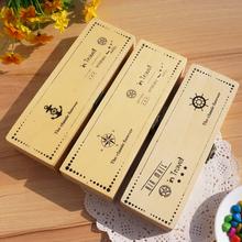 Korean caja de madera caja de almacenamiento nautica Estuches Estuche lápiz estudiantes