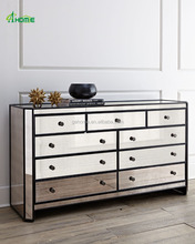 Powell Mirrored Multi Drawers Chest Cabinet