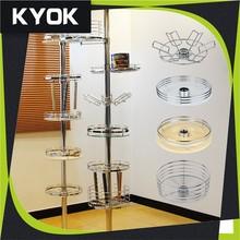 KYOK hot selling metal rack kitchen stand kitchen shelf, bathroom corner install metal & glass storage rack