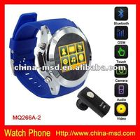 2012 New item GSM quad band MQ266 Stainless steel cell phone watch