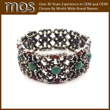 Hot sale colorful beads antique plating alloy bangles wholesale in china