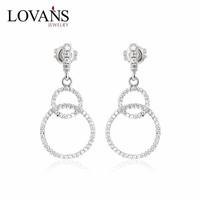 Newest Design Fashion 925 Silver CZ Diamond Dangler Earrings