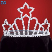 High quality crystal crown star crowns wholesale hair tiaras and crowns kids princess tiara