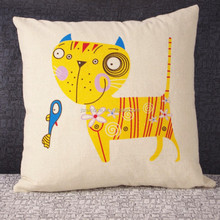 Lovely Custom Made Yellow Cat And Fish Outdoor Sofa Child Cartoon Digital Printing Cushion Cover Home Textile A039
