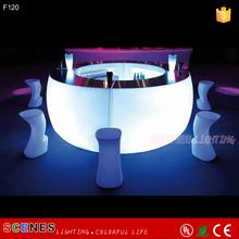 high portable light up plastic led bar table sets