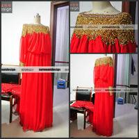 Surmount real sample gold beads design long sleeves chiffion evening dress