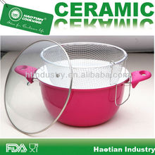 Aluminum ceramic coating deep turkey frying pots,chips frying pot