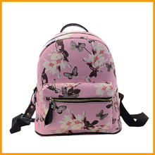 Floral Butterfly Printed Women School PU Leather Backpack