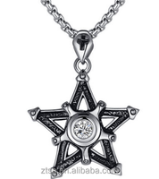 Stainless Steel Pentagon Star Cross Cubic Zirconia Pendant Necklace