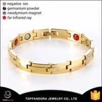 2015 Hot sale design gold plating stainless steel braided titanium bracelet germanium magnetic bracelet for men