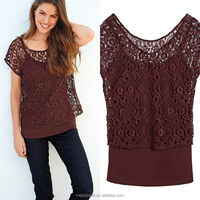 china new arrival cheap rust short sleeeve women lace top with thin strap vest