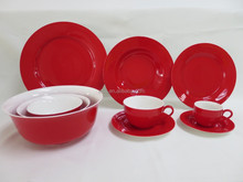 Red Ceramic Dinnerware Set, Red China Dinnerware,Banquet Dinnerware Sets