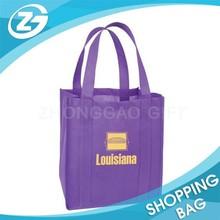Custom Purple Color PP Non Woven Silkscreen Printed Shopping Bag