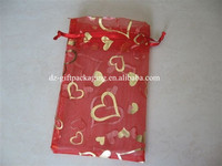 small heart printed organza wedding bag ,promotional organza gift bag ,organza jewerly bag