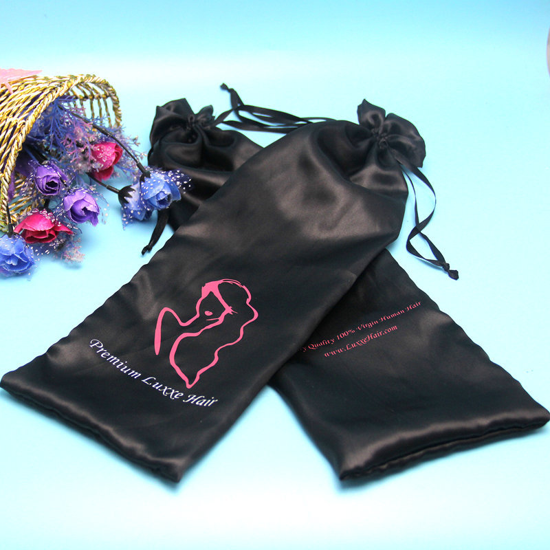 Wholesales long pink satin Hair Extension Packaging bag/satin hair Bag