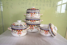 casserole set enamel casserole enamel cookware with high end decal RONGXIN product