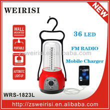 LED rechargeable portable emergency lantern with AC CFL lamp FM radio and mobile charge