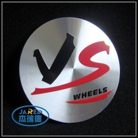 Black and Red Colors Printing Aluminum Material Round Car Emblem Badge Sticker Label
