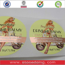 Custom Self-Adhesive pearliscent Film Cosmetics Label Sticker Colorful Printed Label With Gold Stamping
