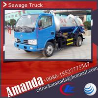 Dongfeng 4*2 95hp mini small vacuum pump sewage truck 3000 liters sewage vacuum tank truck