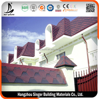 Asphalt Shingle One Green Hexagon Type Of Bitumen Roof Tile