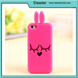 For iphone 6 cute rabbit silicon case,pink color