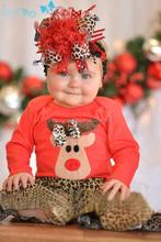 K7702 venta al por mayor nuevo navidad ropa chicos y chicas de la virgen del patrón del leopardo traje para los niños