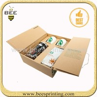 Cardboard paper water bottle pack box cartoon wholesale customized cardboard wine boxes