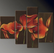 Calla lily flower handmade 4 panels group oil painting