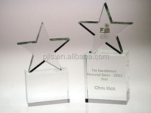 glass/crystal star award&trophy for two sizes