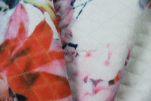 flower printing on diamond double wire themal jacquard knitted fabric
