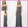 HC2323 Plain style grey strapless sleeveless gathered top A-line long zipper back sweetheart floor-length chiffon prom dress