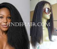Stock 100% virgin Uprocessed Brazilian Hair Italian Yaki Lace Front Wigs Natural color can dye