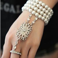 Hot Sale Wedding Bridal Bracelet The Great Gatsby Pearl bracelet Stretch Austrian Cuff Set for Women Wedding hand jewelry XI09