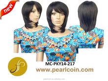 Hot Sale Superior Medium Black 100% Synthetic Fiber Hair Layered Bob Soft Texture Wigs