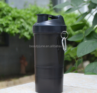 Protein shaker mixer cup home travel sports fitness gym 3 layers multifunction 500ml BPA free plastic my water bottle