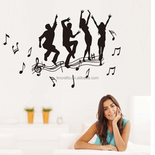 Personality Removable Vinyl Wall Sticker New Arrival Black dancing figures Enjoy Music Dance Boys And Girls Wall decals JM7269