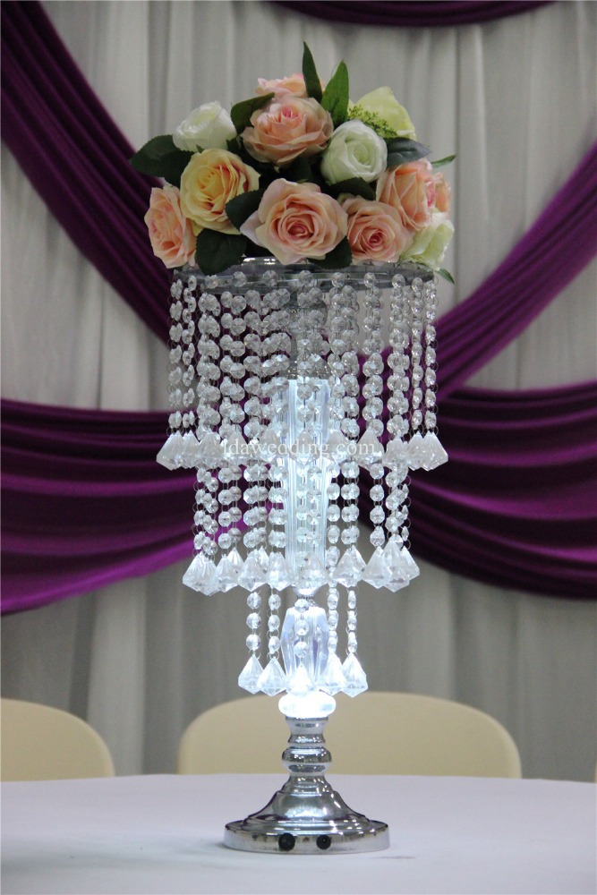 Led lighted wedding centerpiece flower stand with acrylic