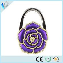 Premium wedding gift flower shaped folding metal purse hook