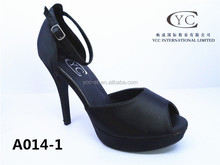 New design peep toe platform heel shoe for 2015 summer high heel shoes woman evening dress shoes with satin material