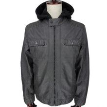 cheap men's autumn and winter gray hight quality pu leather normal washed slim fit motorcycle jacket