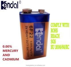 9V HIGH QUALITY 6F22 Liwang Kendal Carbon Zinc Battery/OEM WELCOMED