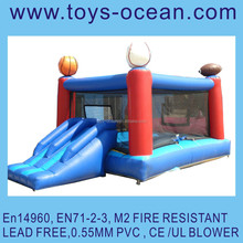 inflatable sport theme moonwalk with slide