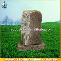 Hand Carved Lilies Paradiso Granite Upright Headstone Design