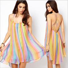 Rainbow color design back-straps hollow out sleeveless dress beach tunic pattern