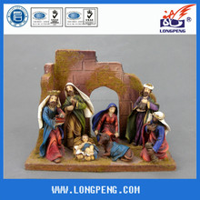 Wholesale Polyresin Nativity Sets, Religious Statues For Christmas with Wood House